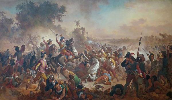 Nas duas batalhas em Guararapes, em 1648 e 1649, os holandeses foram derrotados pelos portugueses.[2]