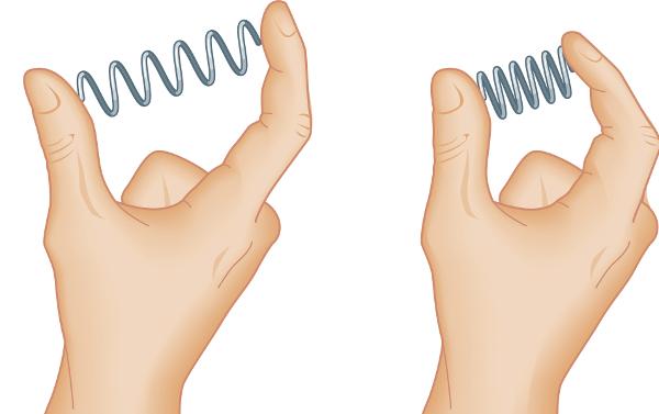 Quando apertamos a mola, ela reage com uma força elástica oposta à força aplicada pelos dedos.