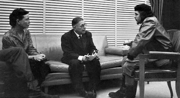 Sartre e Beauvoir encontram-se com Che Guevara em Cuba.