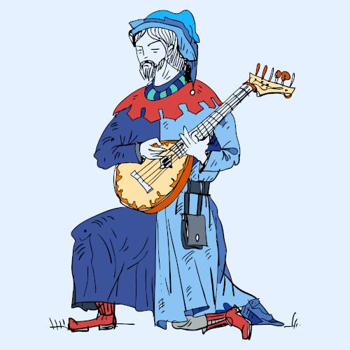 Ilustração de um jogral medieval tocando um alaúde.