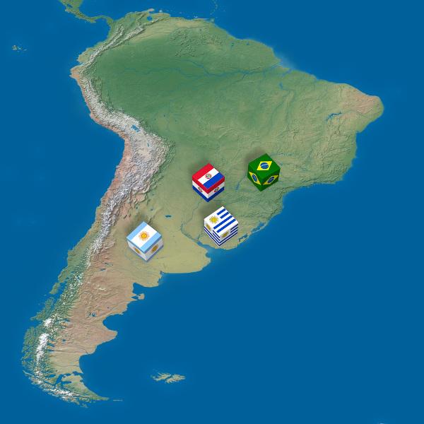 Localização geográfica dos países-membros (fundadores) do Mercosul.