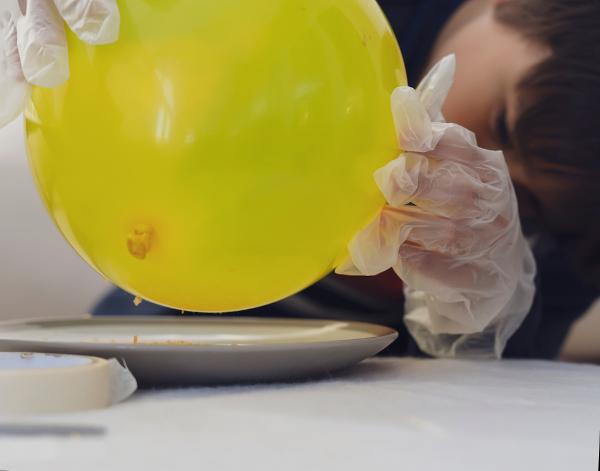 Na figura, o balão foi eletrizado por atrito e então atrai pequenos pedaços de papel.