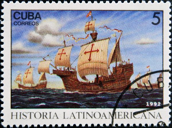 Selo usado em Cuba, no ano de 1992, comemorativo aos 400 anos da chegada de Colombo à América. [2]