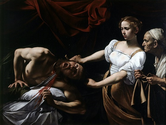 Judite e Holofernes (1599), obra barroca do pintor Caravaggio, abordando temática bíblica e uso da técnica de chiaroscuro (claro-escuro).