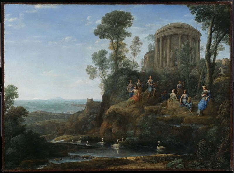 Apolo e as musas no monte Parnaso, de Claude Gellée, representa a concepção mitológica do monte Parnaso, que deu origem ao nome do movimento parnasiano.