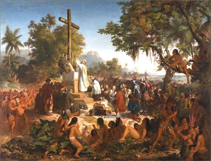 A Primeira Missa no Brasil retratada por Victor Meirelles, 1861.