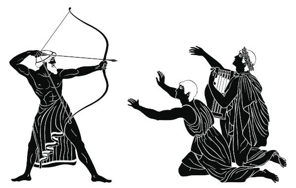 Reprodução da cena em que Odisseu mata os pretendentes de Penélope.