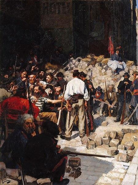 O símbolo da Comuna de Paris é a barricada, que foi usada para proteger os seus integrantes dos ataques das tropas de Thiers.