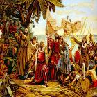 Pintura representando a chegada da expedição de Colombo no Caribe