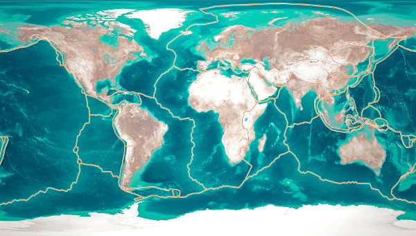 Mapa das placas tectônicas. No geral, os abalos sísmicos ocorrem nas áreas de contato dessas placas.