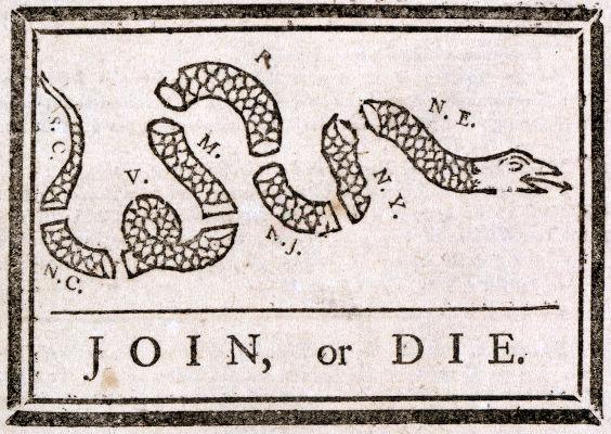 Xilogravura produzida por Benjamin Franklin pela união das colônias inglesas na América do Norte contra os franceses, na década de 1750.