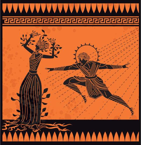 Ilustração que retrata Apolo perseguindo Dafne e ela transformando-se em loureiro.