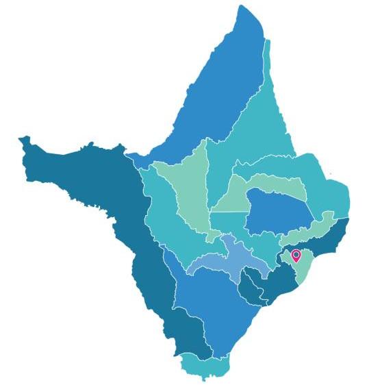 Divisão dos municípios do Amapá. Em destaque, a cidade de Macapá, capital do estado. Fonte: IBGE.