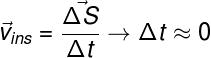 A velocidade instantânea é medida em intervalos de tempo próximos de 0.