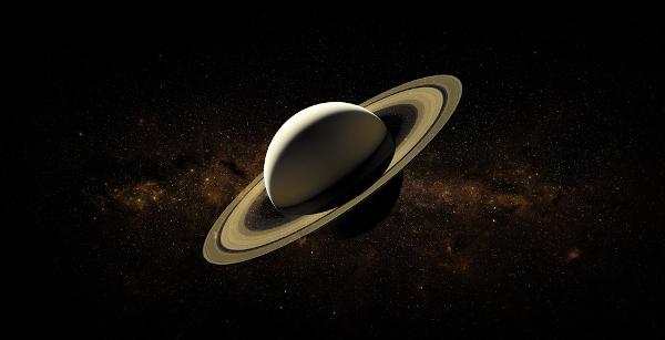 Saturno é o segundo maior planeta do Sistema Solar. Destaca-se pela presença de anéis formados por fragmentos de gelo e rocha