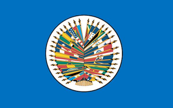 Bandeira com o principal símbolo da OEA, a estrutura com as bandeiras de cada país-membro.