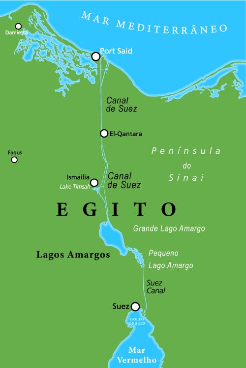 Canal de Suez: Maior canal artificial do mundo sem eclusas.
