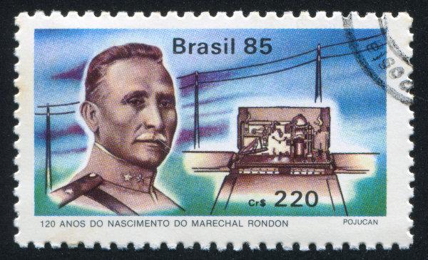 Selo emitido em 1985 em comemoração aos então 120 anos do nascimento de Rondon.[1]