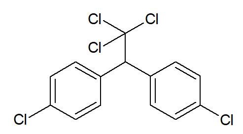 Molécula de diclorodifeniltricloroetano, conhecido como DDT.
