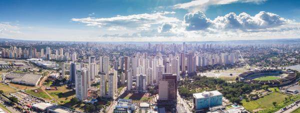 Foto aérea da cidade de Goiânia, Goiás.