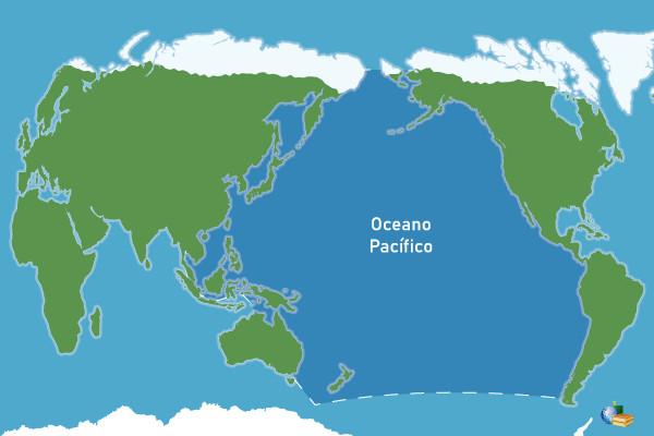 Localização do oceano Pacífico, em azul-escuro.