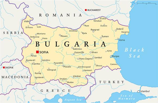 Mapa do leste europeu com destaque para a Bulgária.