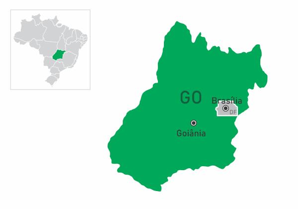 Localização e silhueta do território do estado de Goiás com o destaque de Goiânia e Brasília.