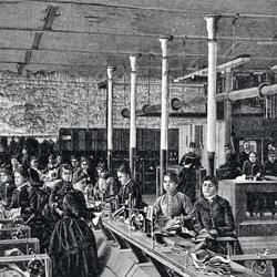 Trabalhadores em fábrica
