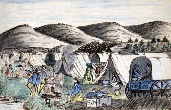 Por meio do Destino Manifesto, os americanos iniciaram caravanas para ocupar o oeste da América.