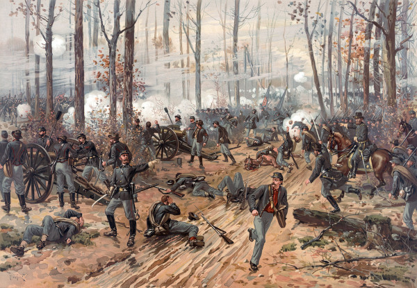 Pintura representando um confronto durante a Guerra de Secessão.