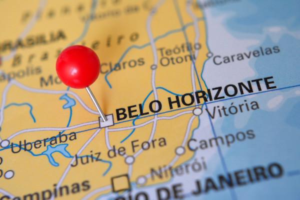Mapa com a localização de Belo Horizonte, capital mineira.