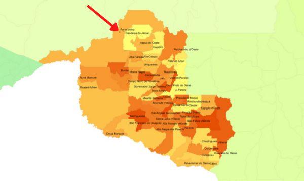 Mapa de Rondônia com destaque para a cidade de Porto Velho.