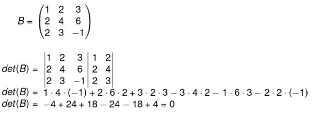 Aplicação da regra de Sarrus para descobrir o det(B).