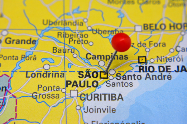 Localização de São Paulo, na Região Sudeste do Brasil.