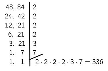 Multiplicação dos números para encontrar o MMC entre 48 e 84.