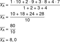 Cálculo de média aritmética ponderada do candidato Armando