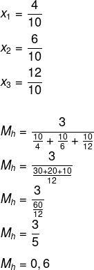Cálculo de média harmônica das densidades das substâncias para encontrar densidade de mistura