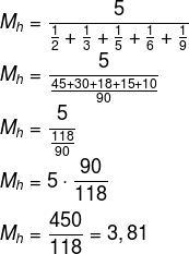Cálculo de média harmônica dos números 2, 3, 5, 6 e 9