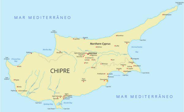 Mapa do Chipre.