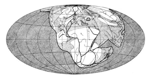 Mapa da Pangeia elaborado por Alfred Wegener.
