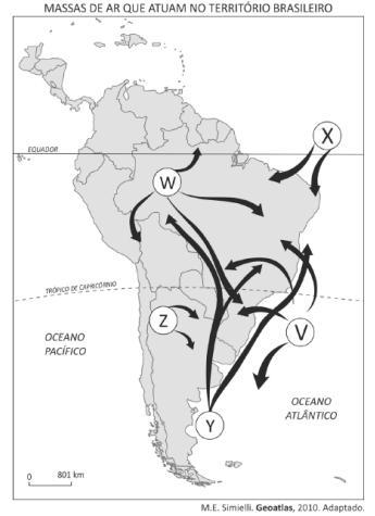 Imagem do mapa do Brasil e o esquema de algumas massas de ar.