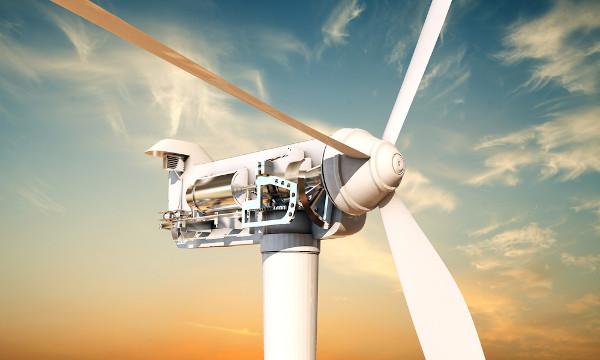 Seção de uma turbina eólica ou aerogerador. É no interior da nacele que a energia elétrica é gerada.