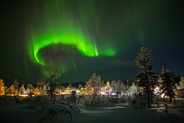 Aurora boreal no extremo norte da Finlândia