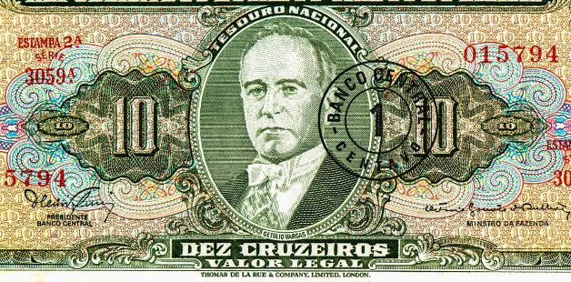 Rosto de Getúlio Vargas estampado em nota de dinheiro