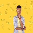 Estudante e símbolos de matemática