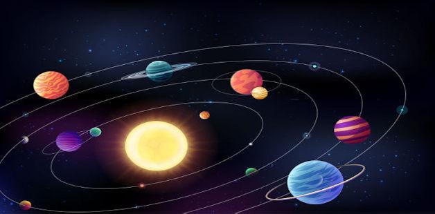 Desenho representando as órbitas planetárias