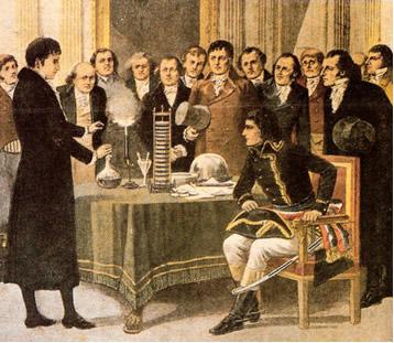 Alessandro Volta demonstrando sua descoberta a Napoleão