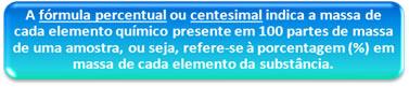 Definição conceitual de fórmula percentual ou centesimal