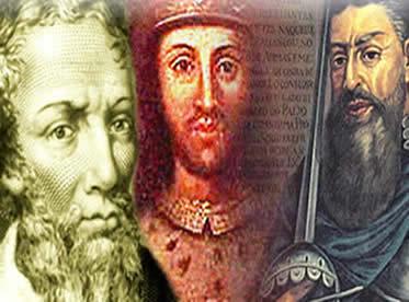 Pedro Álvares Cabral, D. Manuel I e Duarte Pacheco: personagens centrais no descobrimento do Brasil.