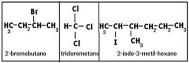 Exemplos de compostos que são haletos orgânicos